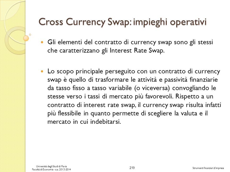 Cross Currency Swap: impieghi operativi