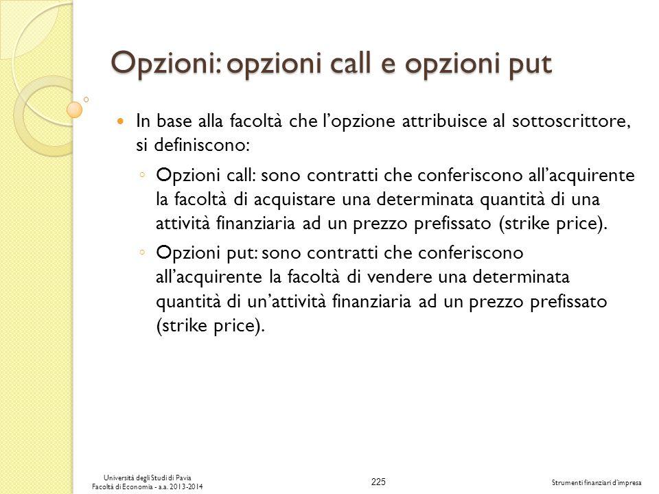 Opzioni: opzioni call e opzioni put
