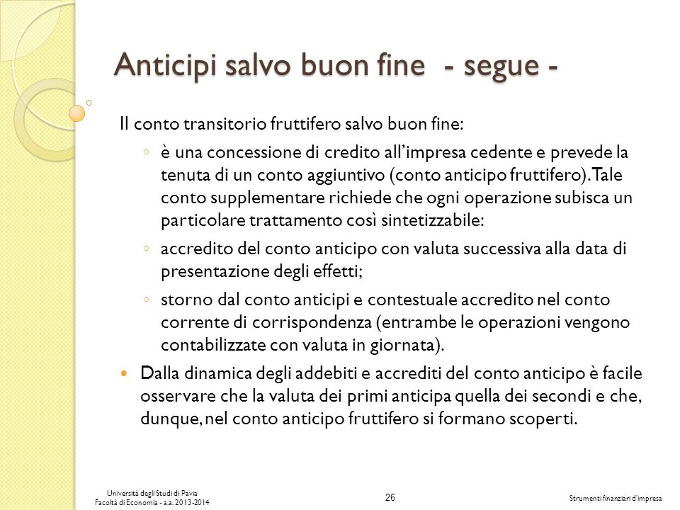 Anticipi salvo buon fine - segue -