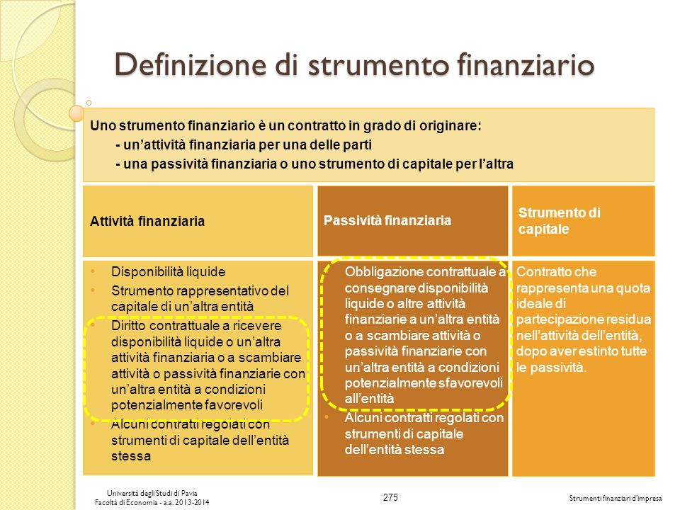 Definizione di strumento finanziario