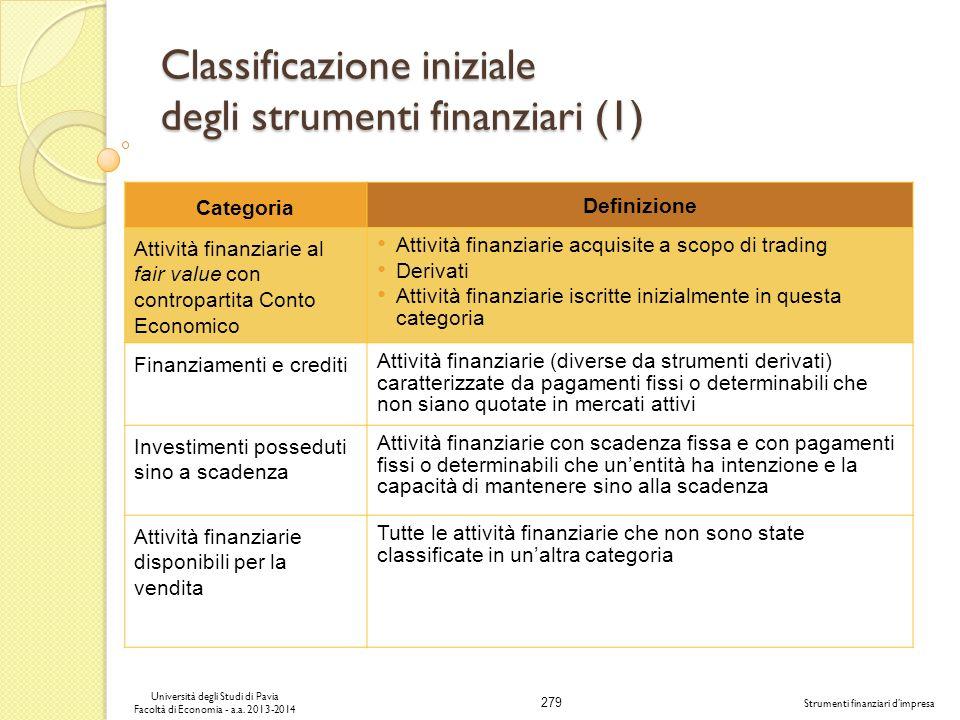 Classificazione iniziale degli strumenti finanziari (1)