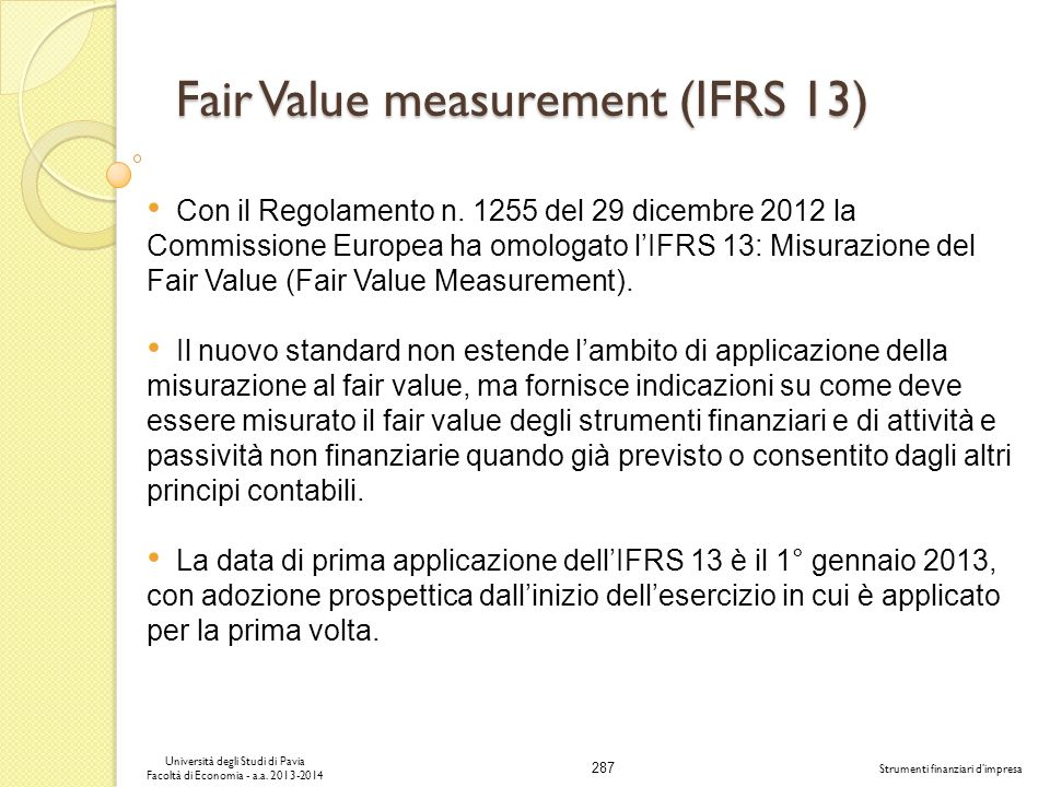 Fair Value measurement (IFRS 13)