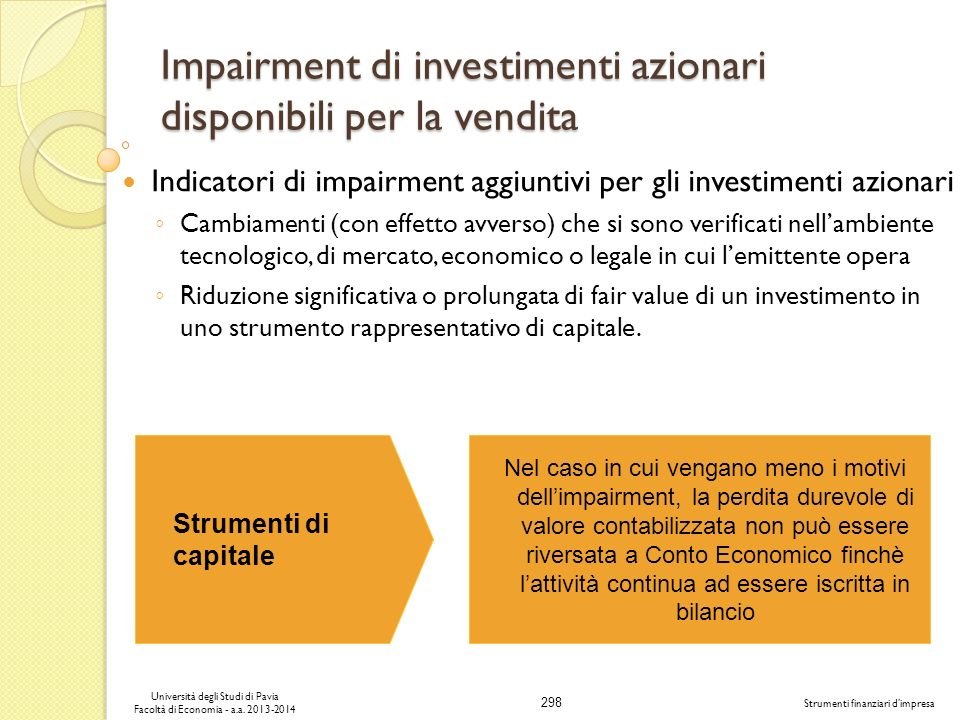 Impairment di investimenti azionari disponibili per la vendita