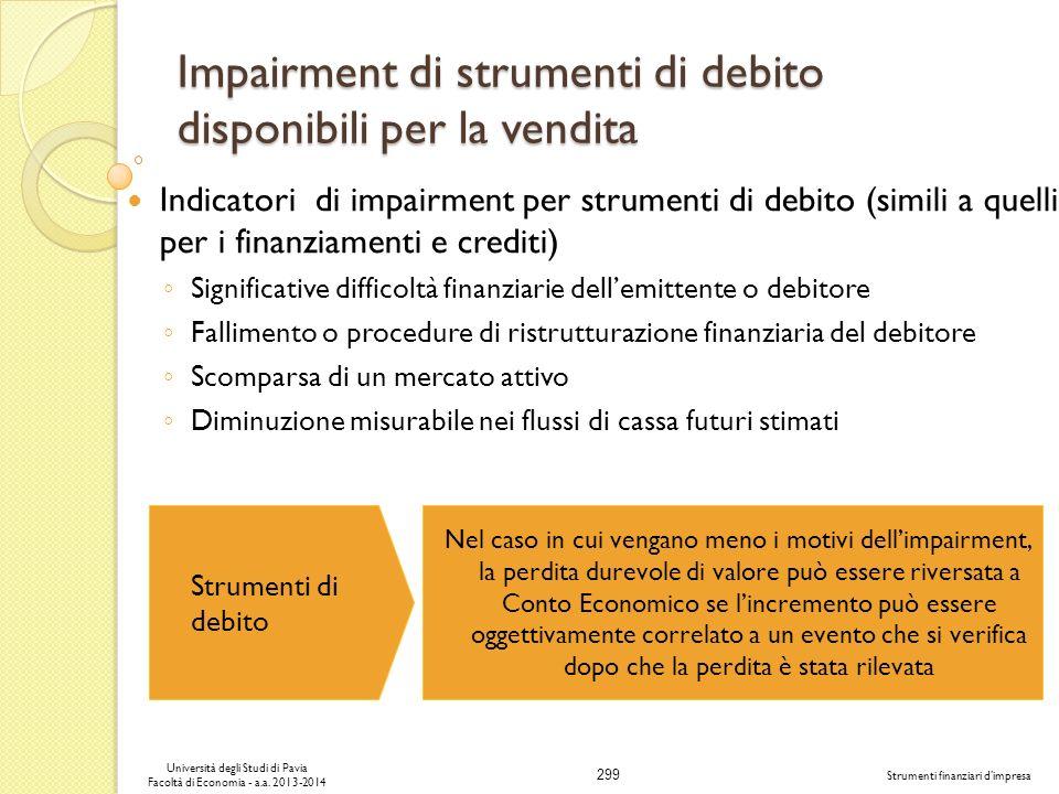 Impairment di strumenti di debito disponibili per la vendita