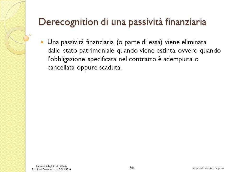 Derecognition di una passività finanziaria
