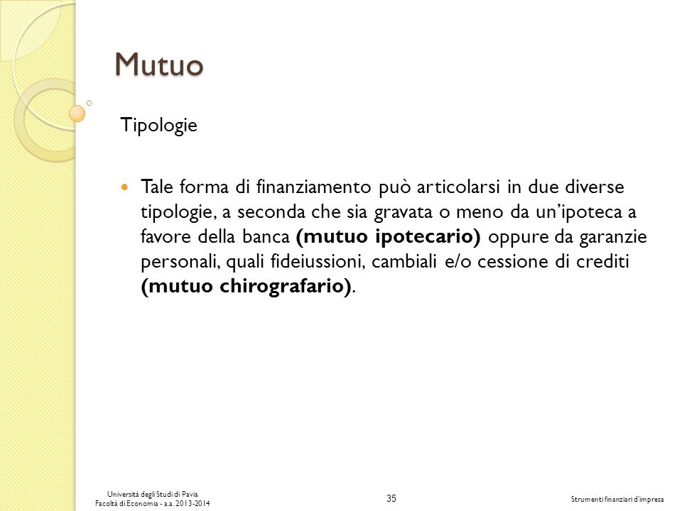 Mutuo Tipologie.