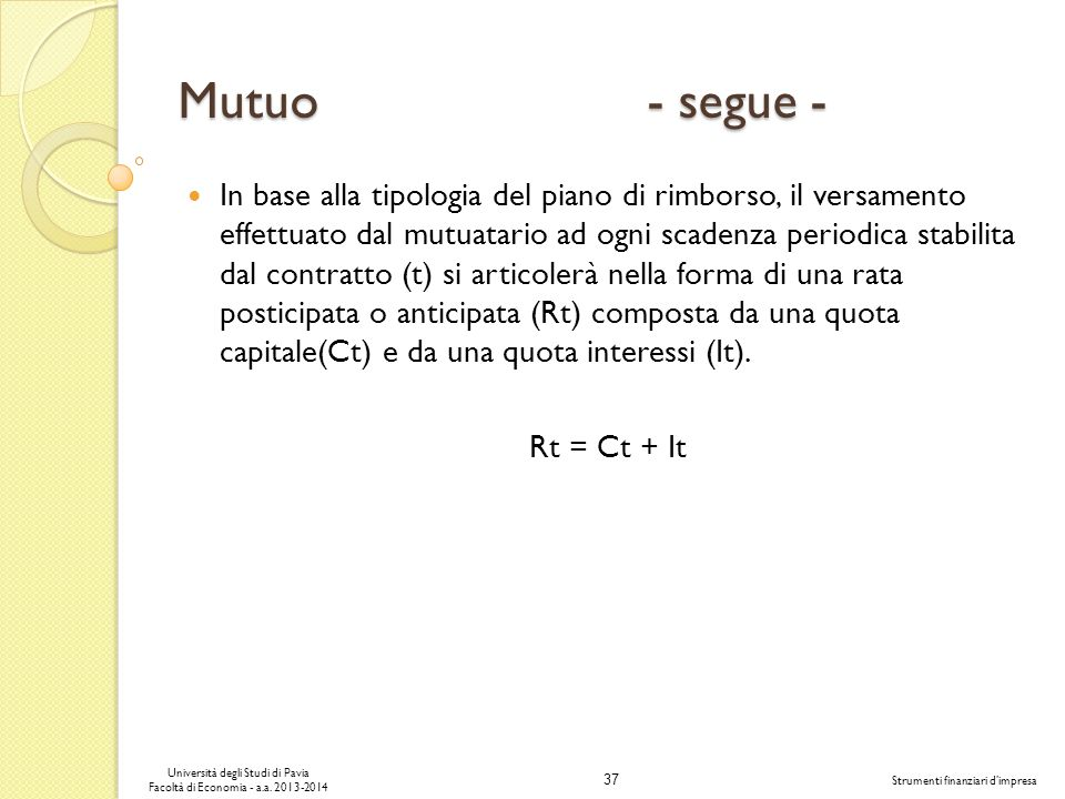 Mutuo - segue -