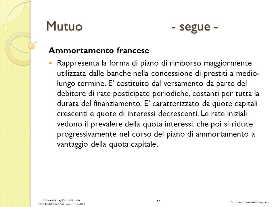 Mutuo - segue - Ammortamento francese