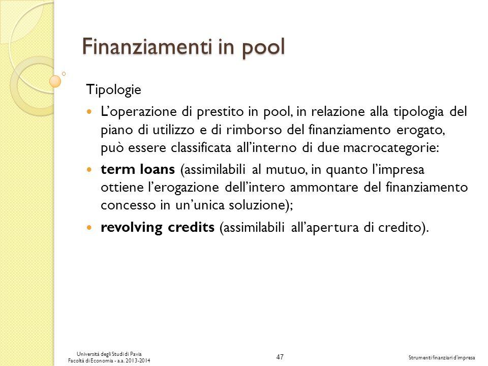 Finanziamenti in pool Tipologie