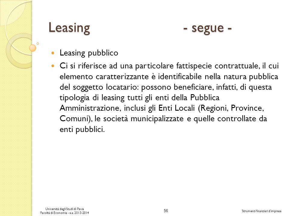 Leasing - segue - Leasing pubblico