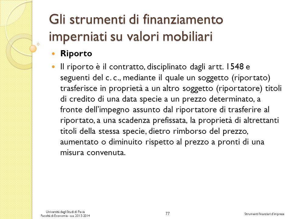 Gli strumenti di finanziamento imperniati su valori mobiliari