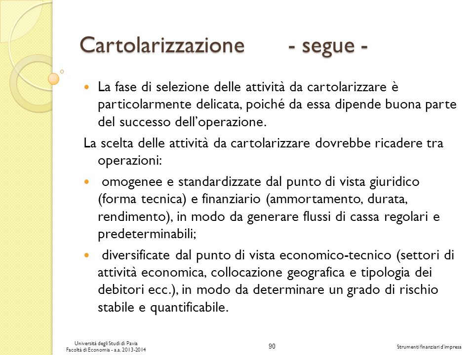 Cartolarizzazione - segue -