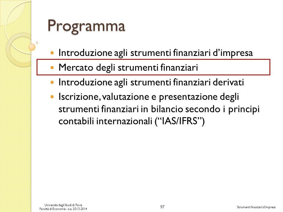 Programma Introduzione agli strumenti finanziari d'impresa