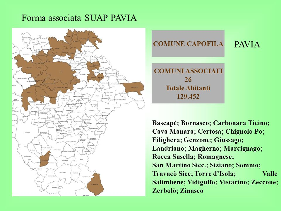 Forma associata SUAP PAVIA