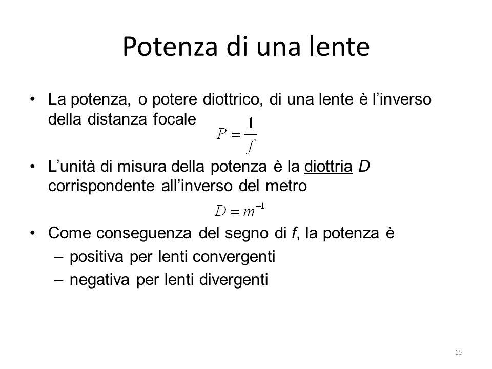 Potenza di una lente La potenza, o potere diottrico, di una lente è l'inverso della distanza focale.