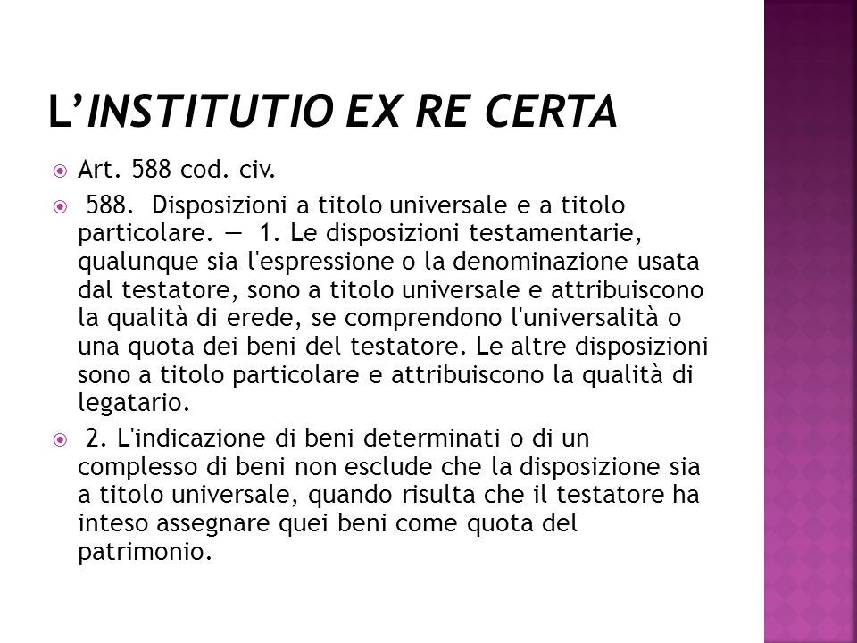 L'INSTITUTIO EX RE CERTA