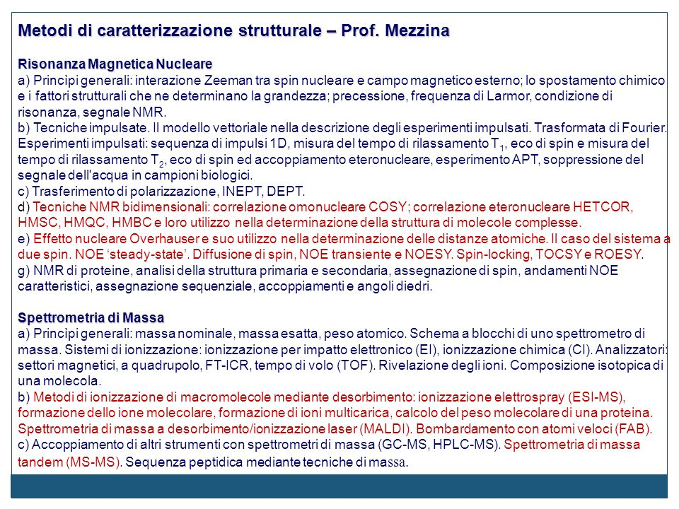 Metodi di caratterizzazione strutturale – Prof. Mezzina