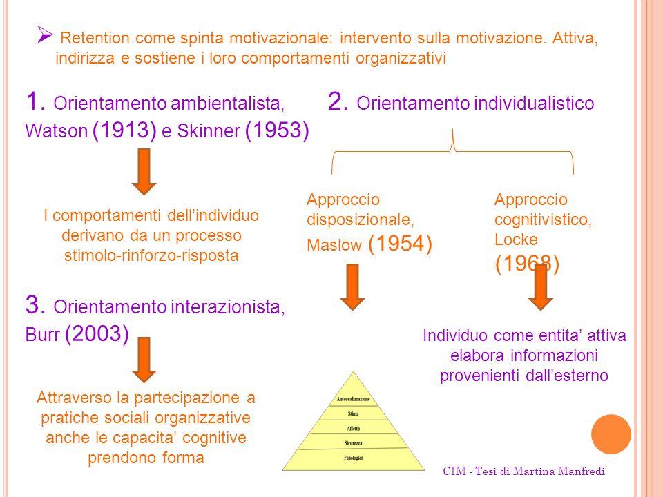1. Orientamento ambientalista, 2. Orientamento individualistico