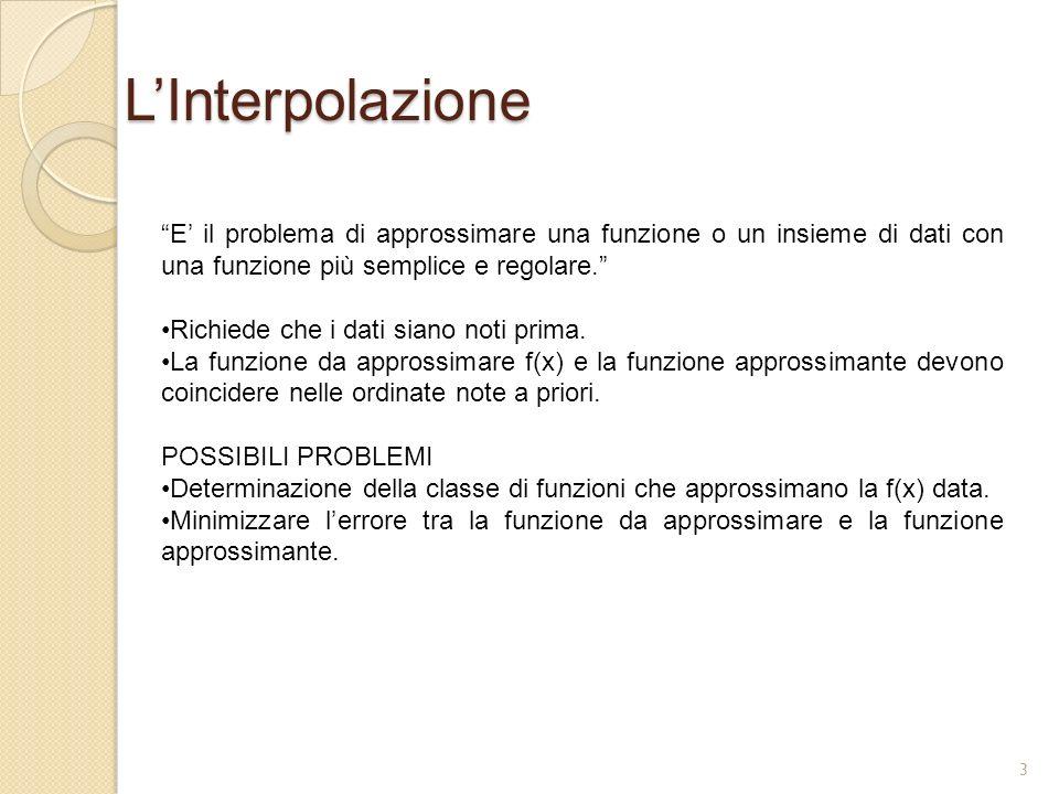 L'Interpolazione E' il problema di approssimare una funzione o un insieme di dati con una funzione più semplice e regolare.