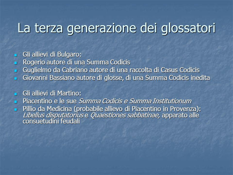 La terza generazione dei glossatori