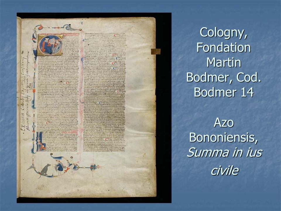 Cologny, Fondation Martin Bodmer, Cod