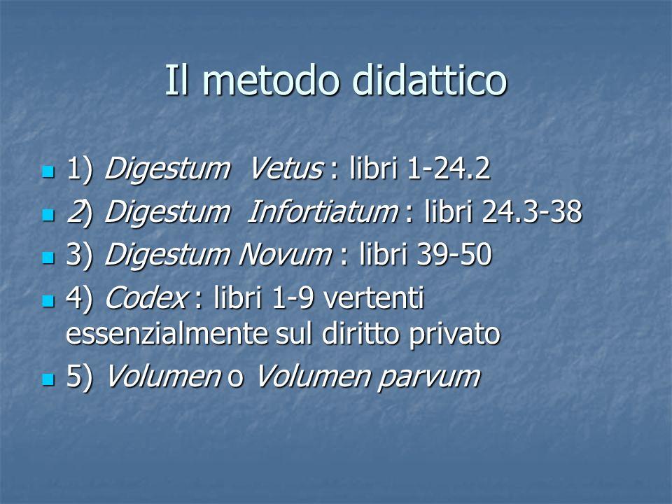Il metodo didattico 1) Digestum Vetus : libri 1-24.2