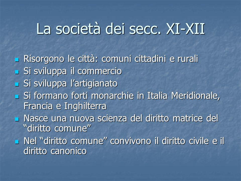La società dei secc. XI-XII