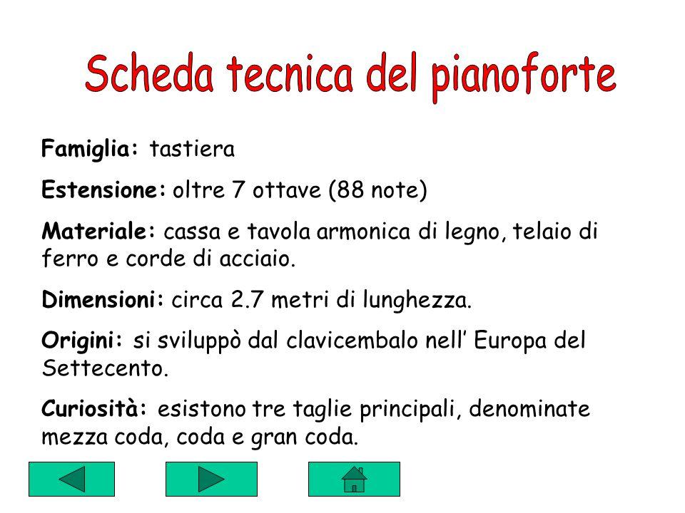 Scheda tecnica del pianoforte