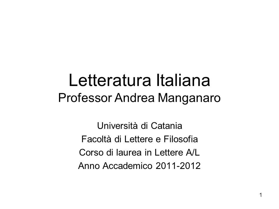Letteratura Italiana Professor Andrea Manganaro