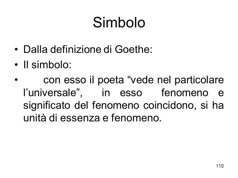 Simbolo Dalla definizione di Goethe: Il simbolo: