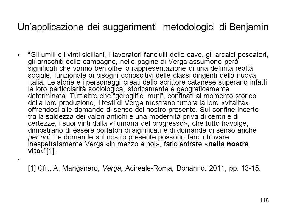 Un'applicazione dei suggerimenti metodologici di Benjamin