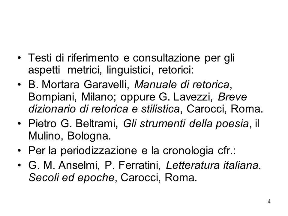 Testi di riferimento e consultazione per gli aspetti metrici, linguistici, retorici: