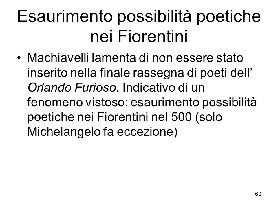 Esaurimento possibilità poetiche nei Fiorentini