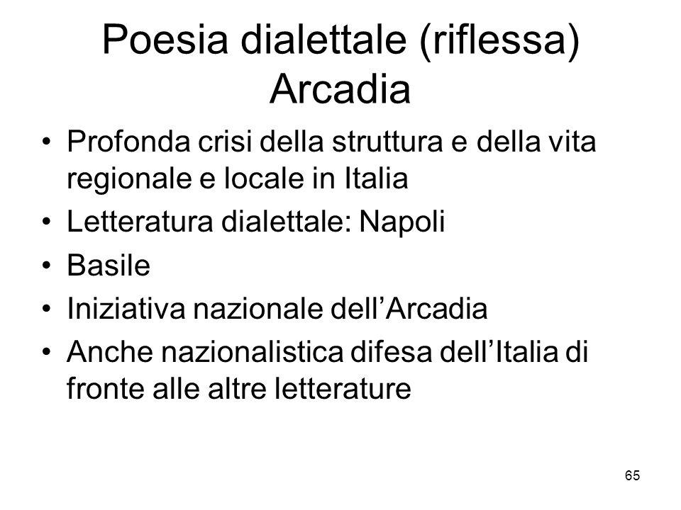 Poesia dialettale (riflessa) Arcadia