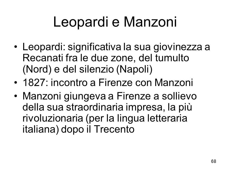 Leopardi e Manzoni Leopardi: significativa la sua giovinezza a Recanati fra le due zone, del tumulto (Nord) e del silenzio (Napoli)