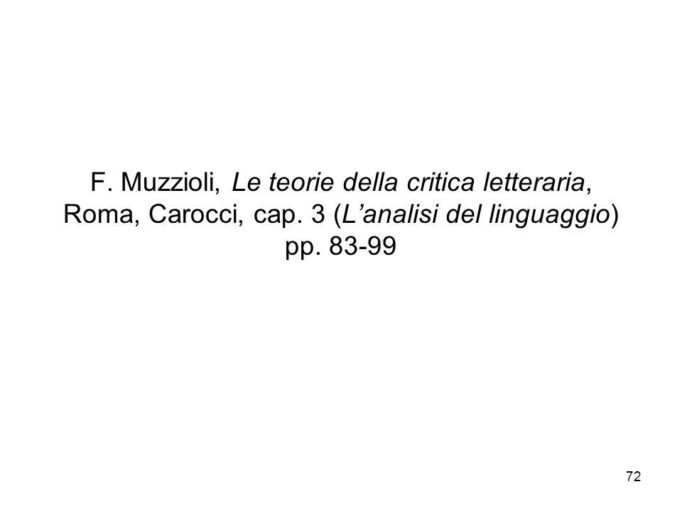 F. Muzzioli, Le teorie della critica letteraria, Roma, Carocci, cap
