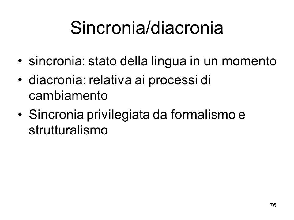 Sincronia/diacronia sincronia: stato della lingua in un momento