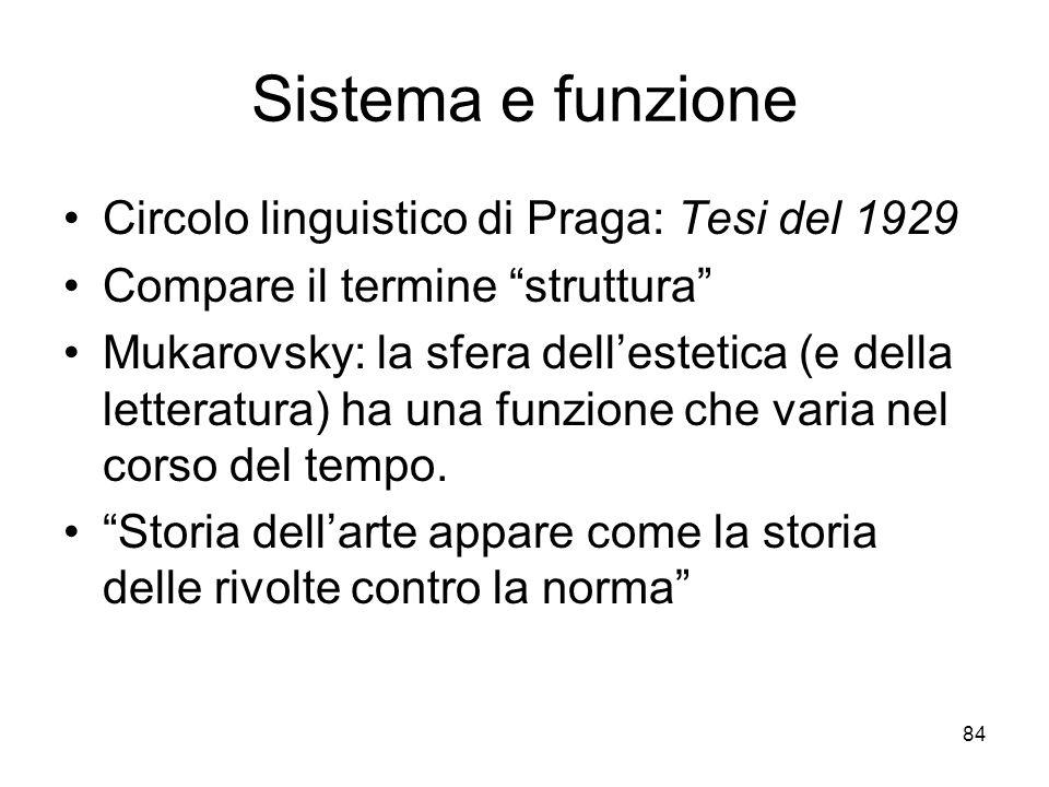 Sistema e funzione Circolo linguistico di Praga: Tesi del 1929