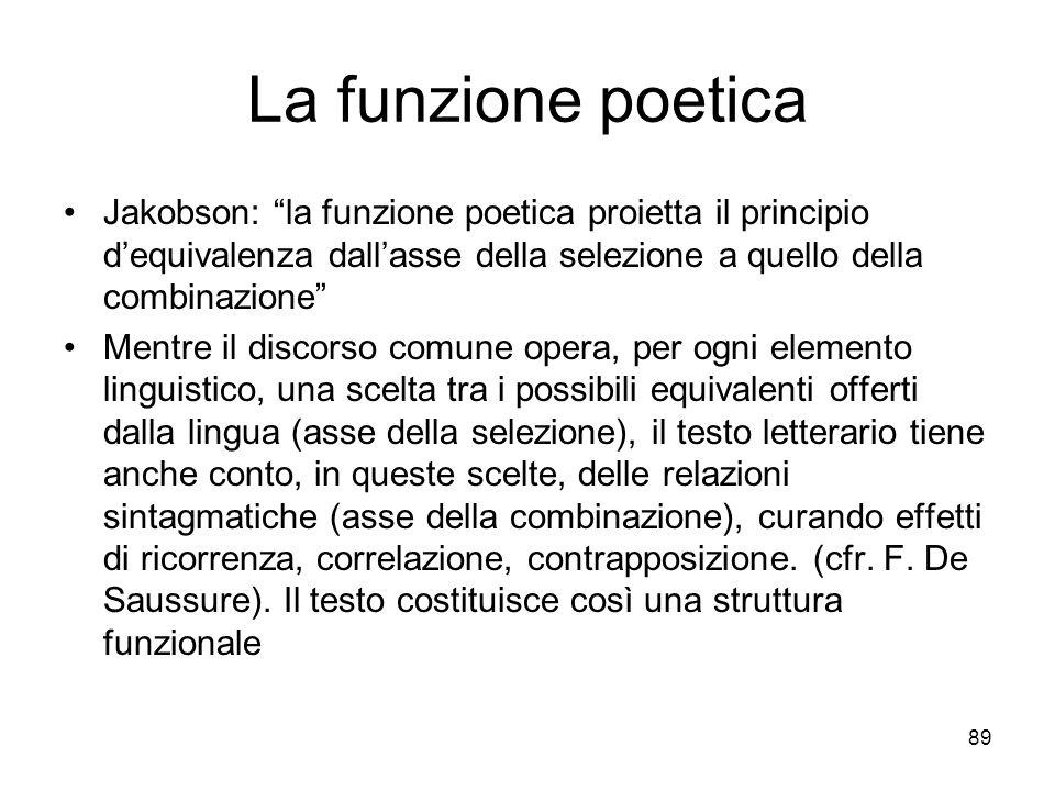 La funzione poetica Jakobson: la funzione poetica proietta il principio d'equivalenza dall'asse della selezione a quello della combinazione