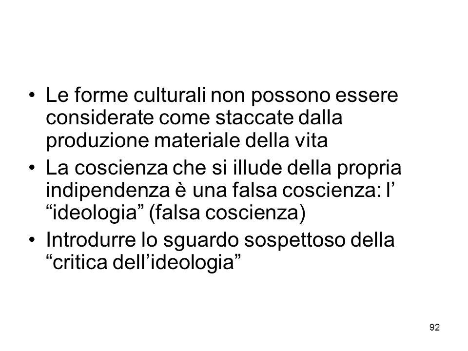 Le forme culturali non possono essere considerate come staccate dalla produzione materiale della vita