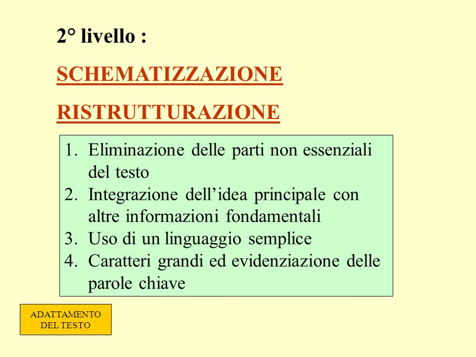 2° livello : SCHEMATIZZAZIONE RISTRUTTURAZIONE