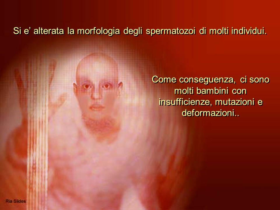 Si e' alterata la morfologia degli spermatozoi di molti individui.
