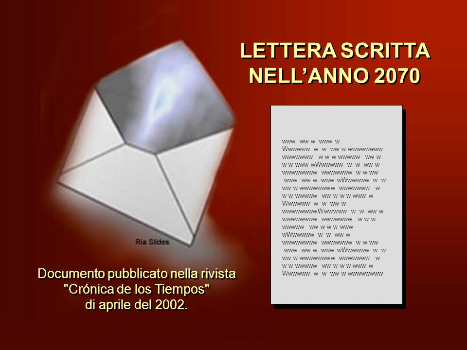 LETTERA SCRITTA NELL'ANNO 2070
