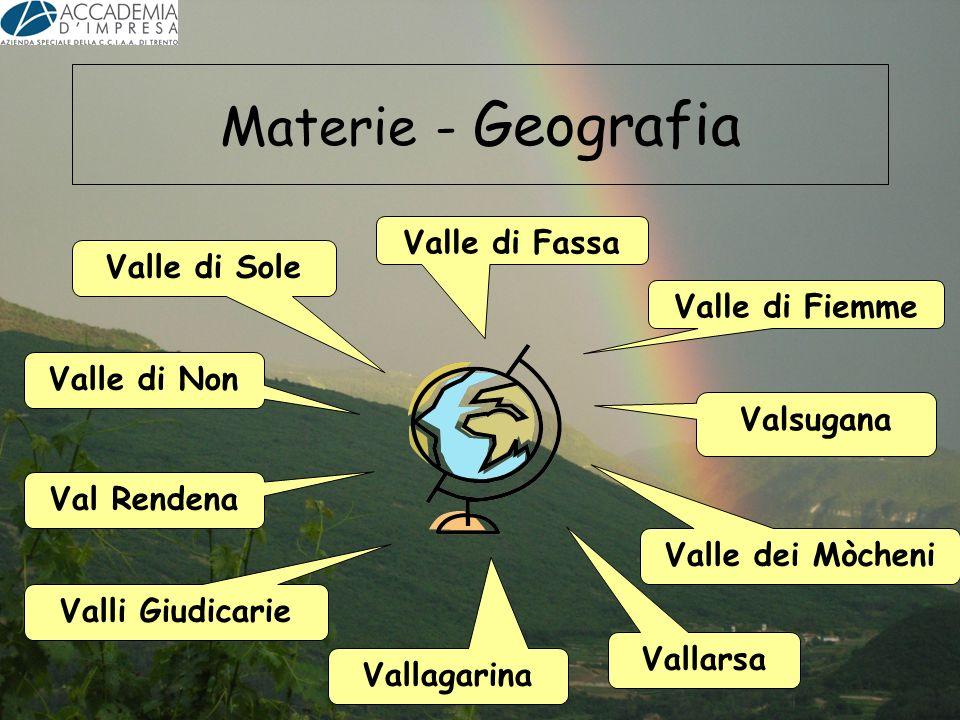 Materie - Geografia Valle di Fassa Valle di Sole Valle di Fiemme