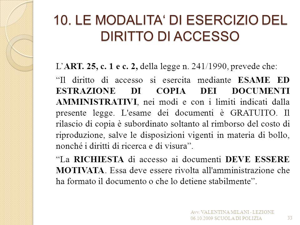 10. LE MODALITA' DI ESERCIZIO DEL DIRITTO DI ACCESSO