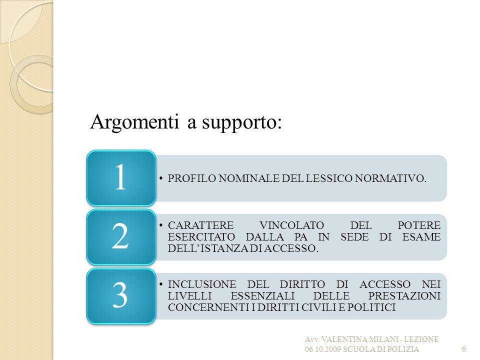 Argomenti a supporto: 1. PROFILO NOMINALE DEL LESSICO NORMATIVO. 2.