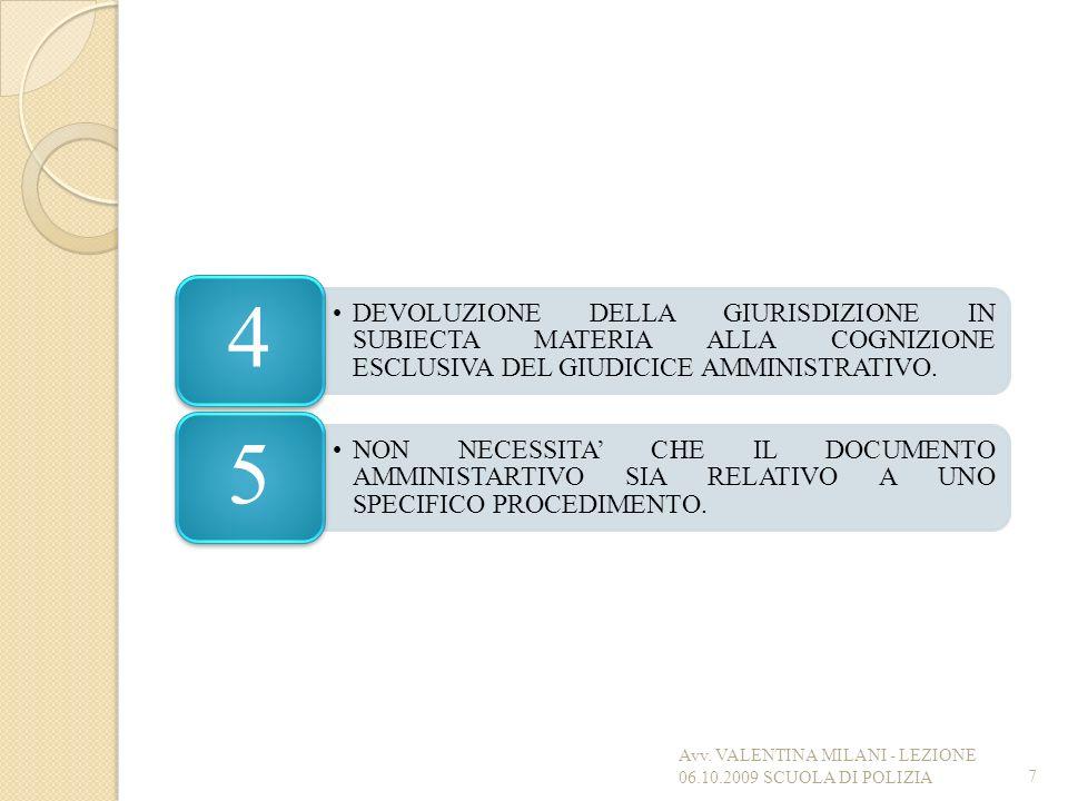Avv. VALENTINA MILANI - LEZIONE 06.10.2009 SCUOLA DI POLIZIA
