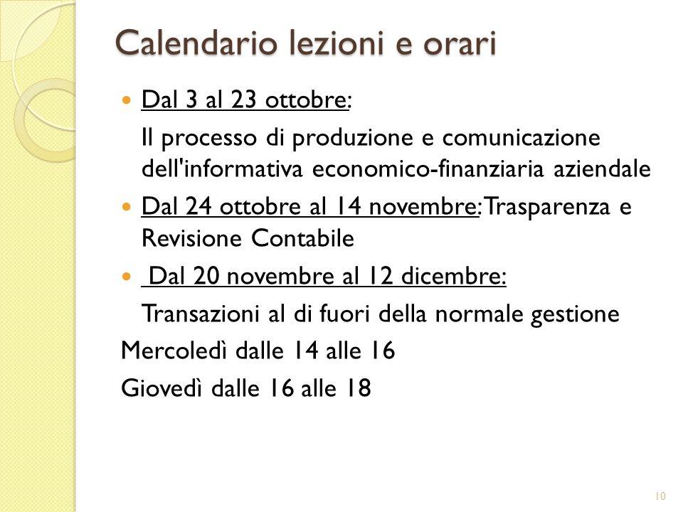 Calendario lezioni e orari