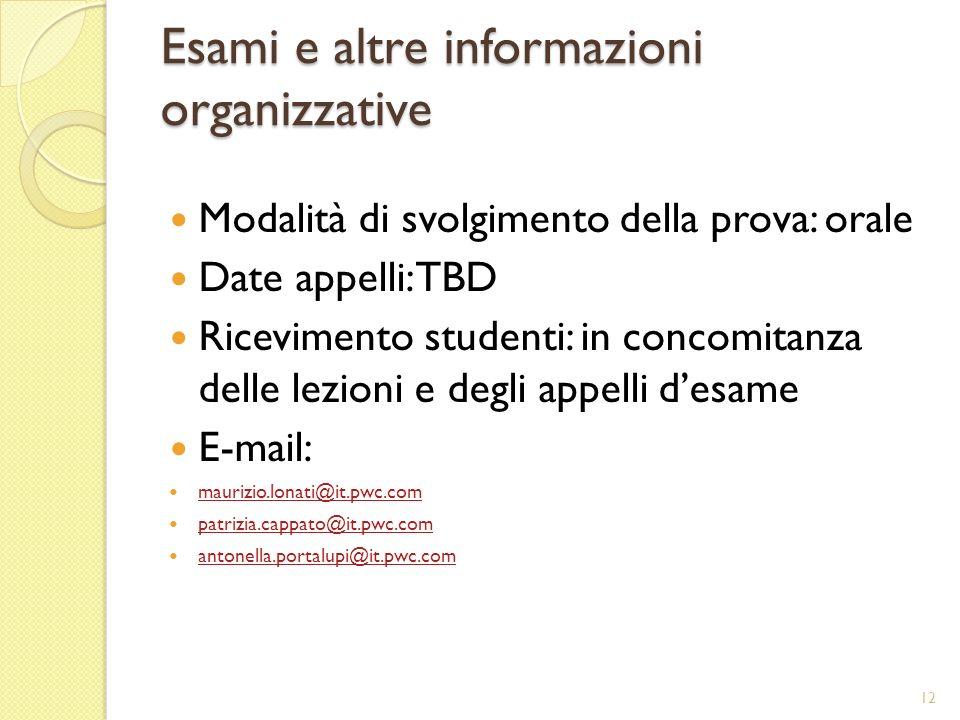 Esami e altre informazioni organizzative