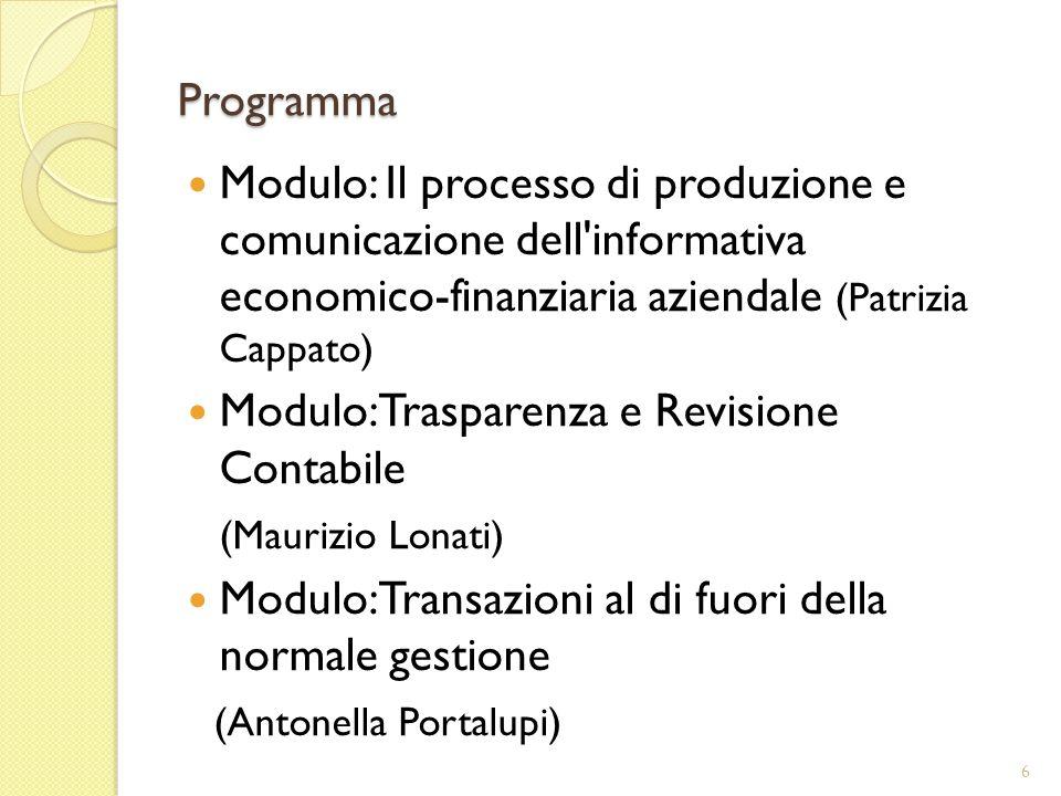 Programma Modulo: Il processo di produzione e comunicazione dell informativa economico-finanziaria aziendale (Patrizia Cappato)